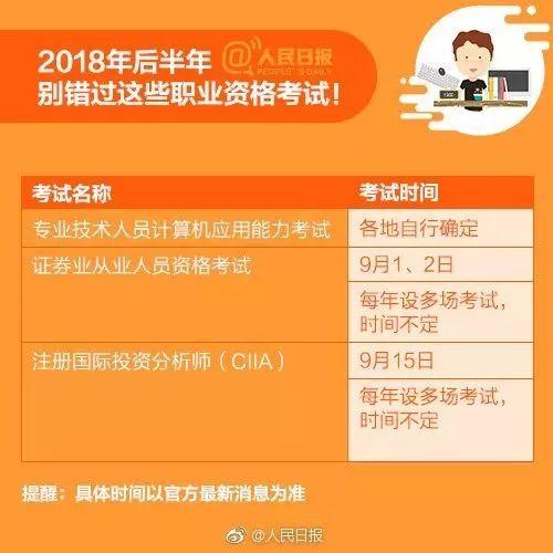 2018下半年职业资格考试时间表来啦! 考证资讯 第12张